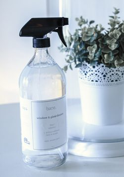 bare. cleaning essentials. window and glass cleaner