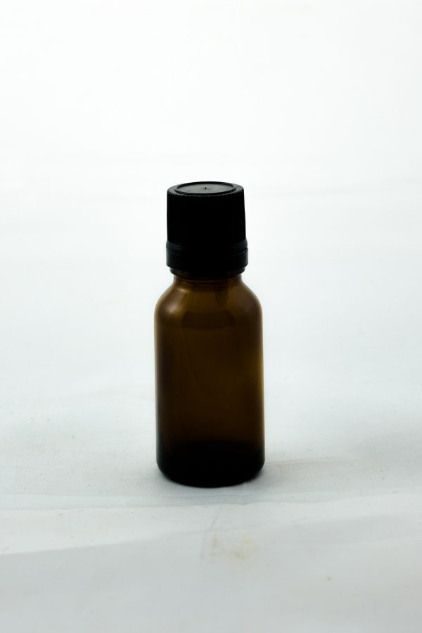 15ml amber round glass bottle with tamper evident dropper cap