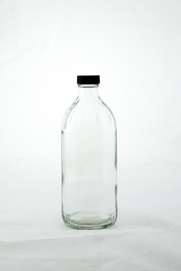 16oz round glass bottle with cap closure